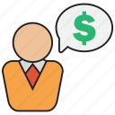 business, cash, currency, discussion, dollar, finance, invest icon