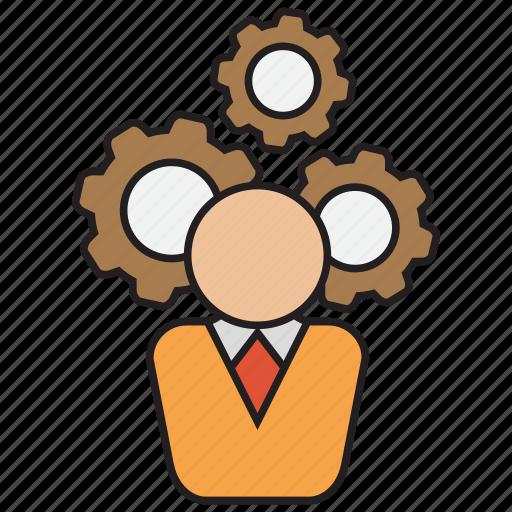 call, center, gear, operator, run, service, support icon