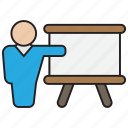business, chart, graph, presentation, strategy, teacher icon