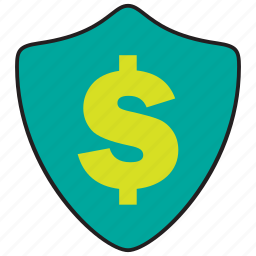 cash, invest, money, protection, secure, security, shield icon