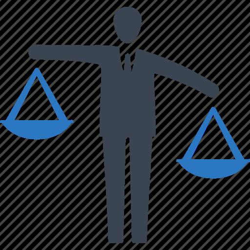 analysis, balance, businessman, decision icon