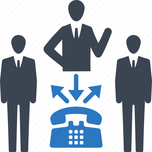 businessman, communication, conference call, phone, teamwork icon
