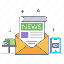 newsletter, bulletin, news sheet, newspaper, news mail icon