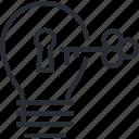 business, idea, key, line, startup, thin icon