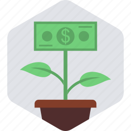 banking, flower, green, grow, money, nature, plant icon