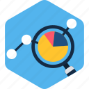 analytics, bar, chart, graph, magnifier, search icon