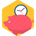 piggy, bank, duration, banking, savings, time, schedule