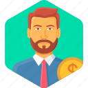 accountant, bank, evaluation, income, manager, money, revenue icon