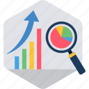 analytics, bar, business, chart, graph, magnifier, search icon