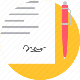 contract, page, paper, sign, signature, signing icon