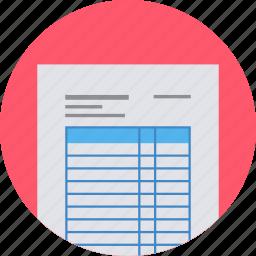 bill, invoice, page, paper, receipt icon