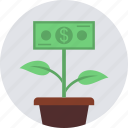 dollar, earings, green, grow, making, money, plant icon