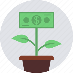 dollar, earings, green, grow, making, money, plant icon