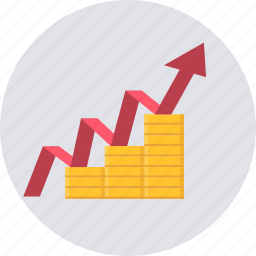 banking, finance, growth, hike, increase, marketing, revenue icon