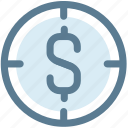 crosshair, dollar, financial, financial target, focus, money, target icon