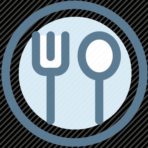 fork, plate, restaurant, spoon, tableware icon