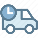 clock, delivery, logistics, package, time, truck icon