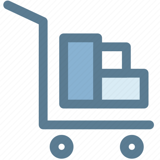 carry, hand truck, logistic, moving, packages, wheel icon