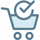check mark, check out, groceries, merchandise, shopping cart, store icon