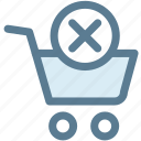 cancel, check out, groceries, merchandise, shopping cart, store icon