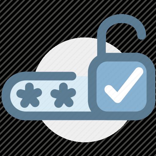 correct, correct password, pin code, protected, security, unlock icon