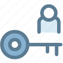 business, key, key person, person, unlock, user icon