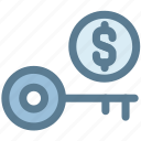 business, key, money, money key, protection, unlock icon