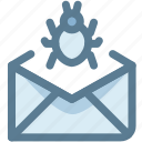 bug, email, email virus, letter, send, virus icon