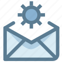 electronic mail, email, gear, letter, mail settings, send icon