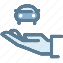 car, car insurance, hand, insurance, property, protection icon