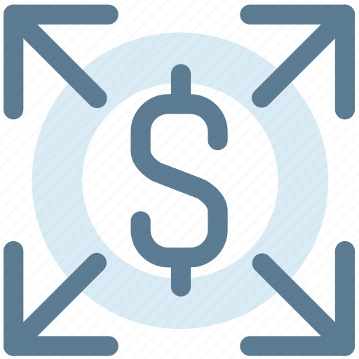 business, distribute, expand, growth, increase money, marketing, money, up icon