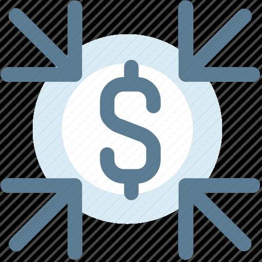 collect, decrease money, dollar, down, low, money icon