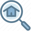 building, home, home search, real estate, search icon