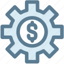 bussiness, gear, marketing, mechanism, money, money settings, settings icon