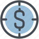 crosshair, dollar, financial, financial target, focus, goal, money, target icon