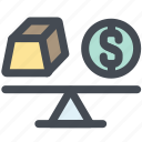 balance, gold, money, scale, weight icon