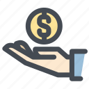 bonus, hand, money, offering, savings icon