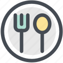 fork, plate, restaurant, spoon, tableware icon