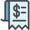 bill, check, invoice, list, money, receipt icon