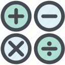 account, addition, buttons, calculator, math icon