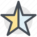 half, half star, ratings, rising star, shooting star, star icon