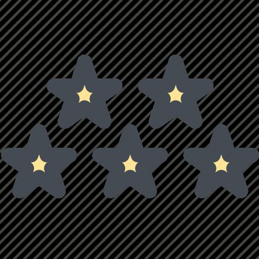 five stars, ratings, rising star, shooting star, star icon