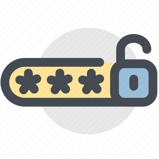 password, protected, protection, security, unlock icon