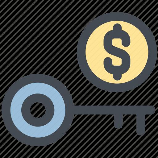 business, key, money, money key, protection, unlock icon