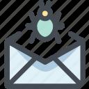 bug, email, email virus, letter, send, virus icon