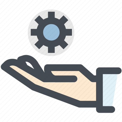 gear, hand, insurance, mechanism, mechanism insurance, protection icon