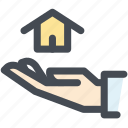 hand, house, insurance, property, property insurance, protection icon