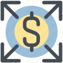 distribute, expand, growth, increase money, money, up icon