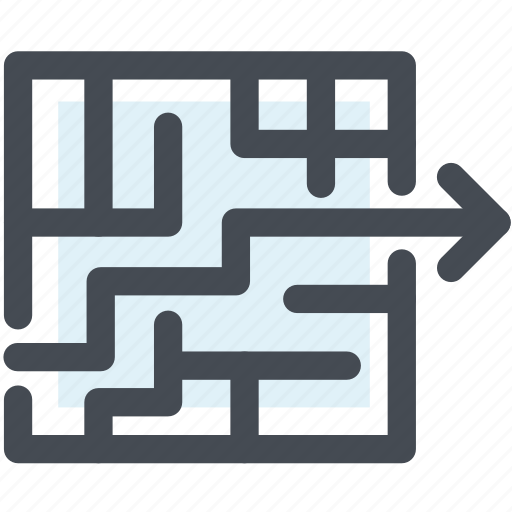 business, game, maze, path, right path, solutions icon