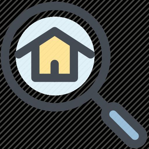 building, home, home search, real estate, search icon